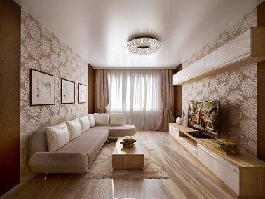 Освещение натяжного потолка в прямоугольной комнате