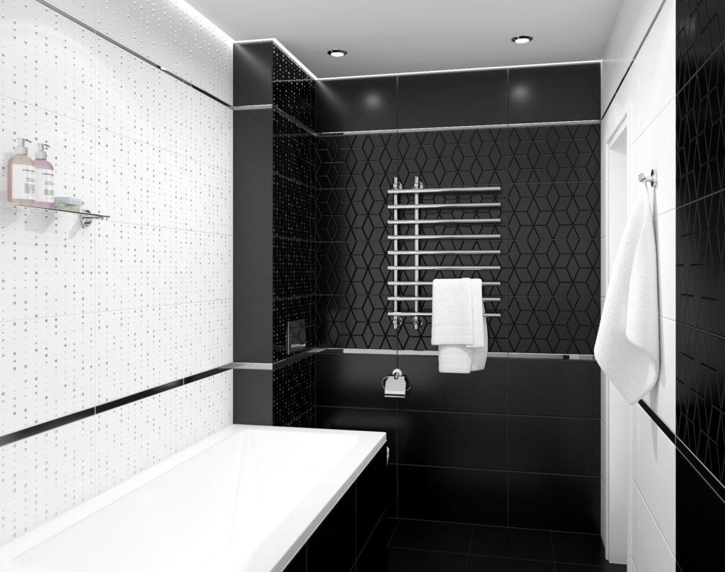 Черный натяжной потолок в ванную